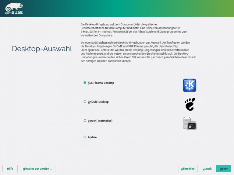 openSUSE Installation Desktop