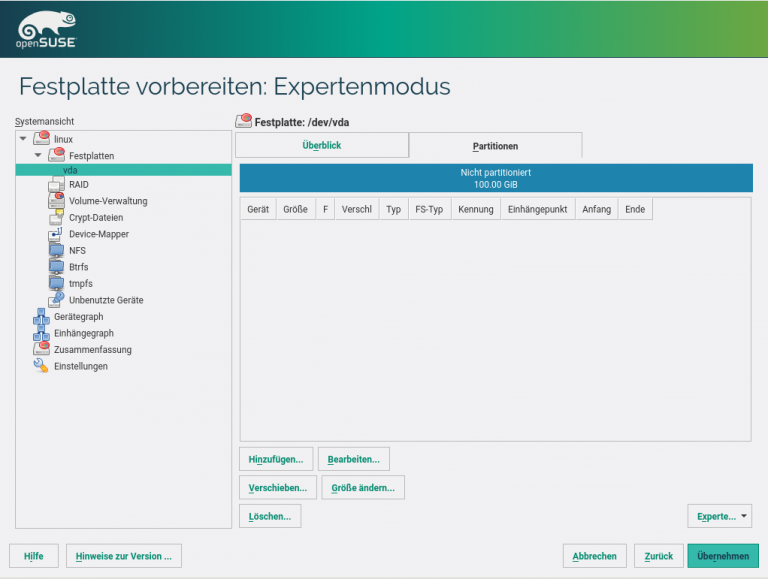 openSUSE Installation Festplatten Expertenmodus