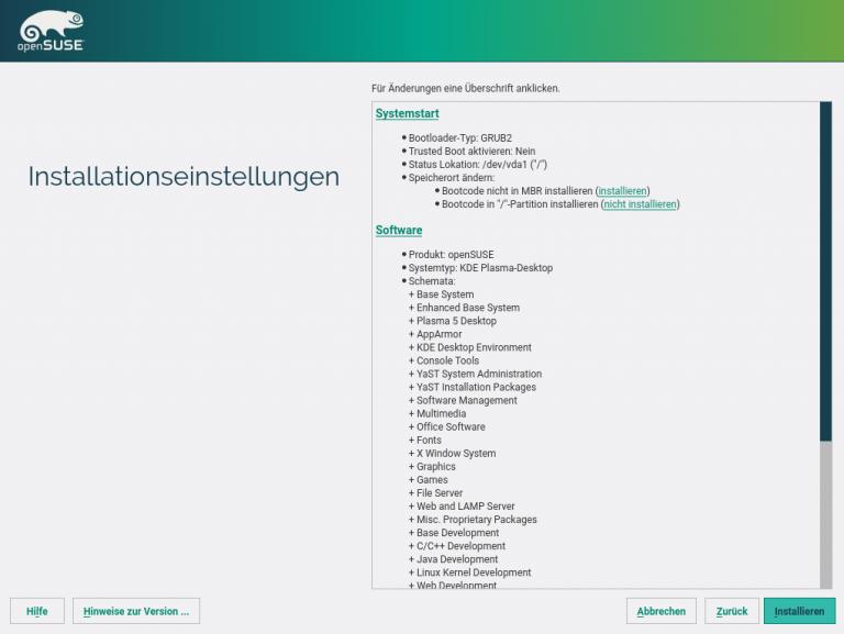 openSUSE Instlallation Installationseinstellungen