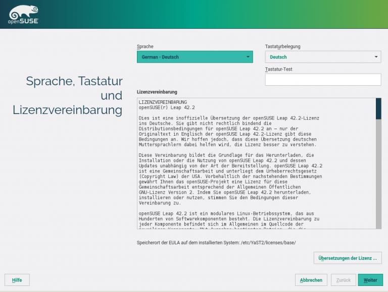 openSUSE Installation Step 1