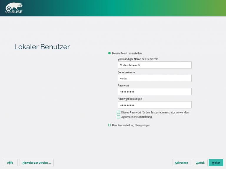 openSUSE Installation User