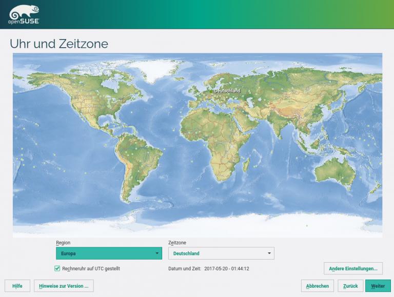 openSUSE Installation Zeitzone