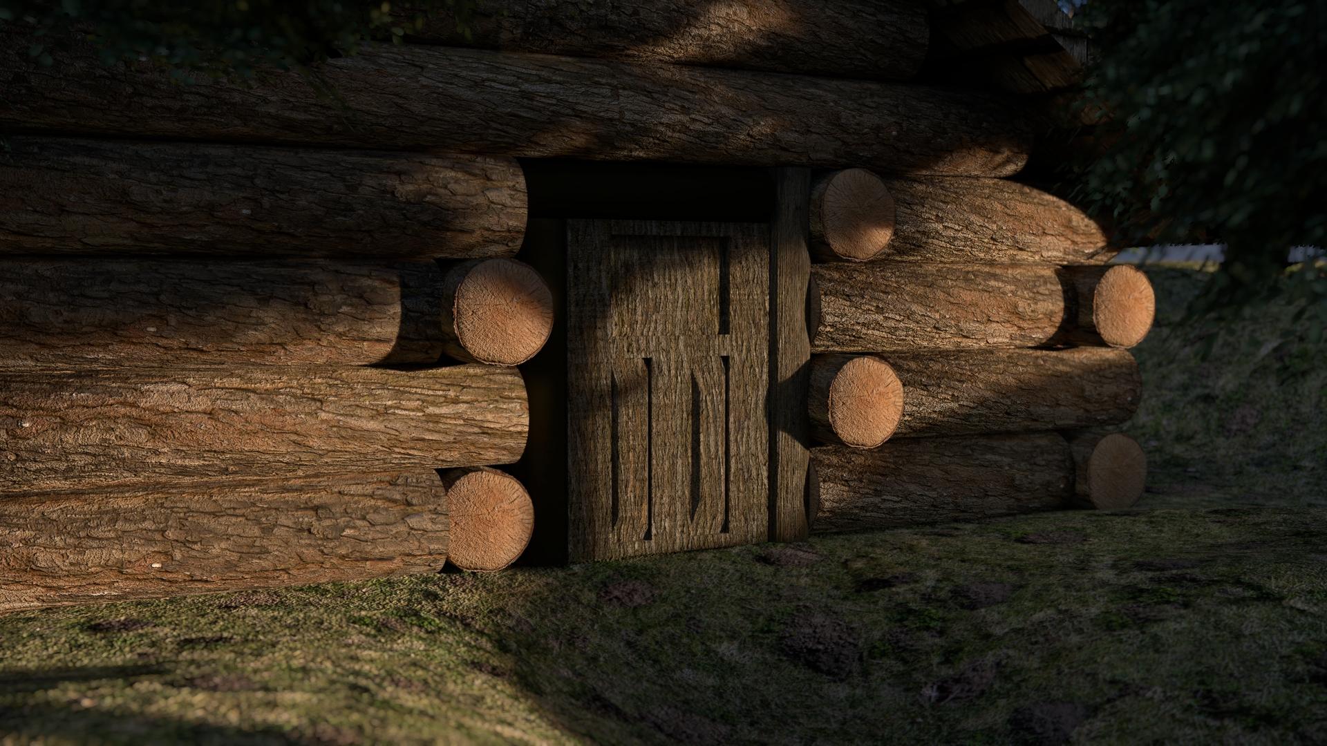 Holzhaus im Wald mit Pro Lighting Skies