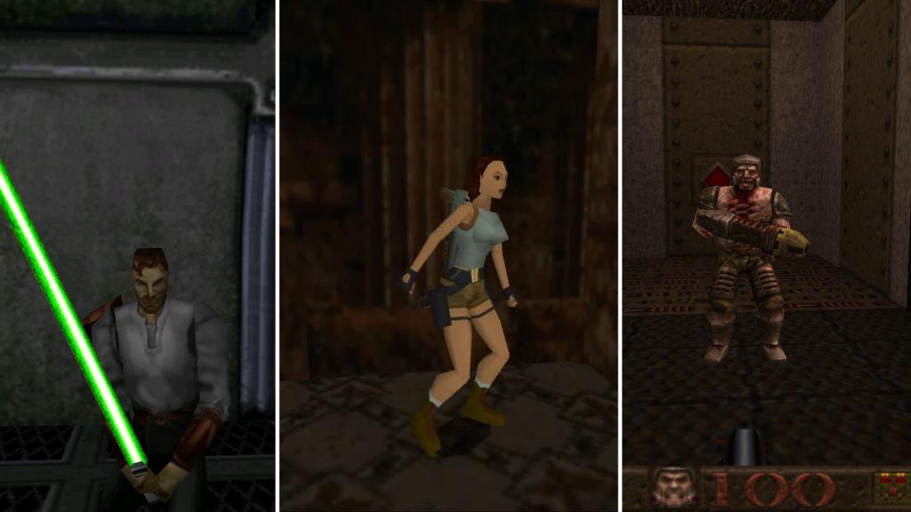Grafikvergleich Star Wars Jedi Knight: Dark Forces II vs Tomb Riader vs Quake
